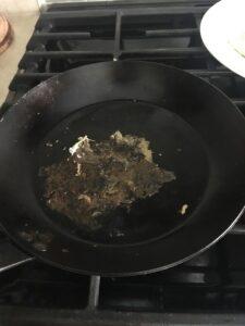egg residue cast iron pan