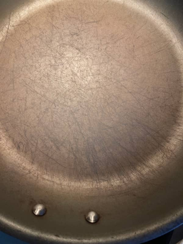 nonstick pan with damaged nonstick coating